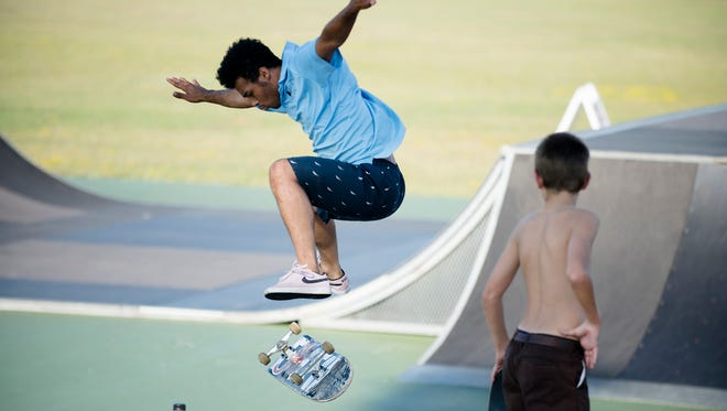 Taelin Bowman skate boards at the Montgomery Skate Park on Friday, Sept. 21, 2017, in Montgomery, Ala.