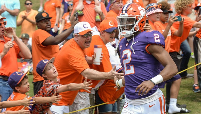 Clemson quarterback Kelly Bryant (2) runs down the hill before the spring game in Memorial Stadium in Clemson on Saturday, April 14, 2018.
