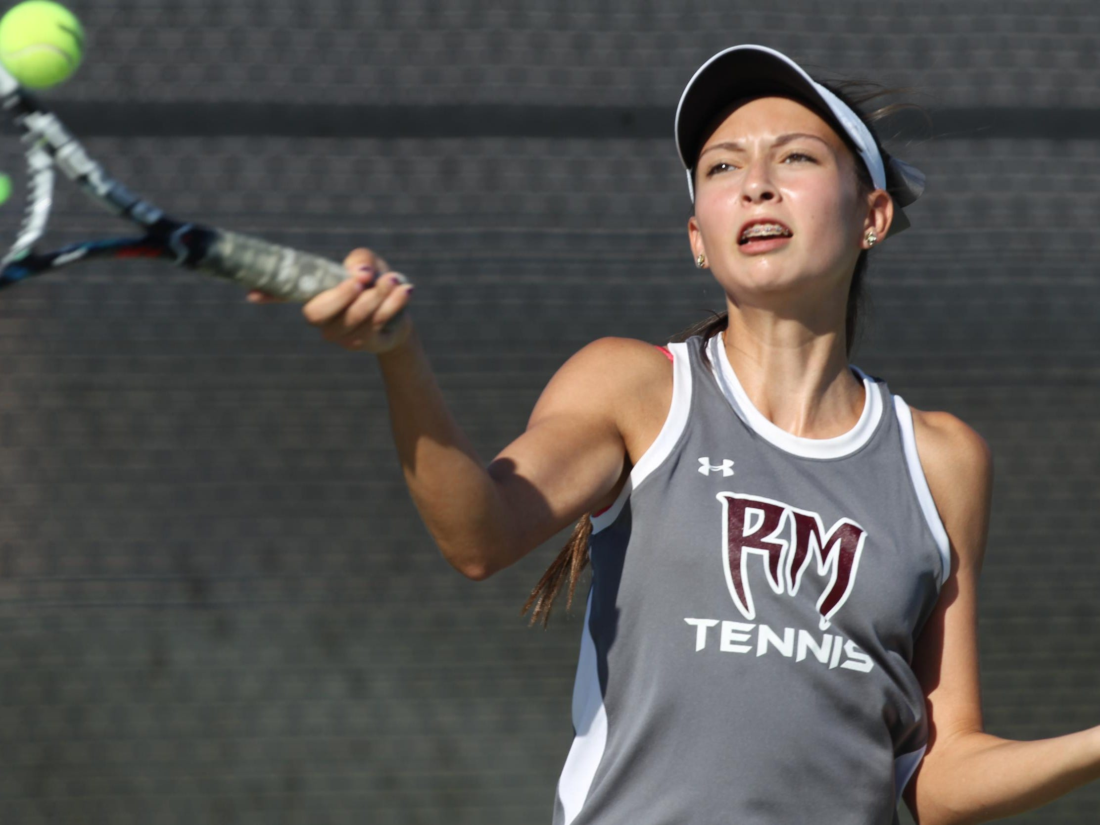 Tatiana Harvey of Rancho Mirage High School, seen here in a file photo, won back-to-back De Anza invidual tennis titles, completing her perfect league run earlier this week.