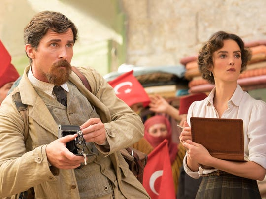 "Christian Bale and Charlotte Le Bon in ""The Promise."""