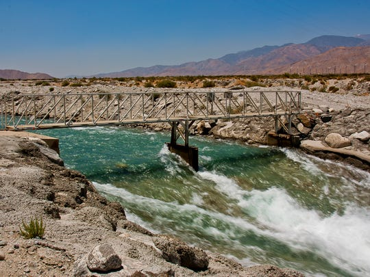 The Whitewater River brings water from the Colorado River Aqueduct to the Whitewater Recharge Ponds near Windy Point in Palm Springs.