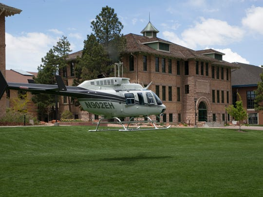 A Bell 206 helicopter operated by Upper Limit Aviation lands on the upper quad at Southern Utah University as part of Forever Red Week in September. Upper Limit and SUU have partnered to train 232 aviation students since 2013.