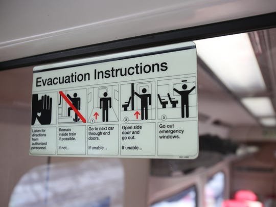 Directions posted on a Metro-North train traveling from Port Chester to Grand Central on Feb. 11.