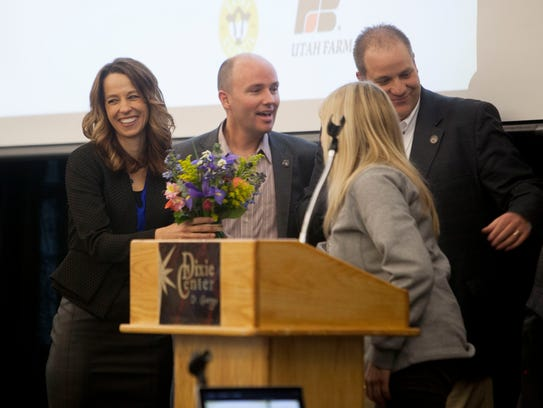 Abby Cox, left, and her husband, Lt. Gov. Spencer Cox, who farm in Fairview, Utah, were among the speakers Friday at the opening day of the Utah Fusion Agriculture conference in St. George.
