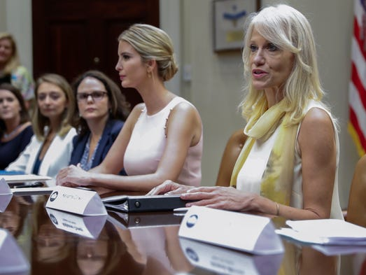 Conway, alongside Ivanka Trump, delivers remarks in