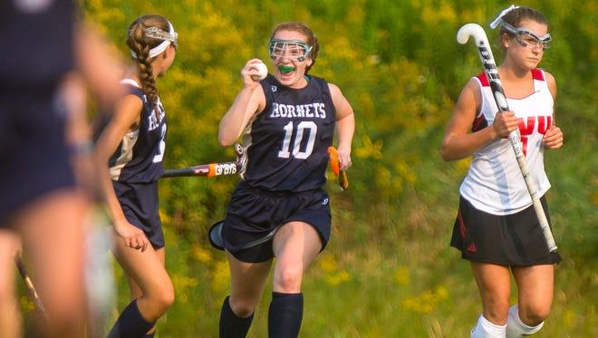 Essex's Sarah Smith celebrates her goal against CVU in Hinesburg on Wednesday, September 2, 2015.