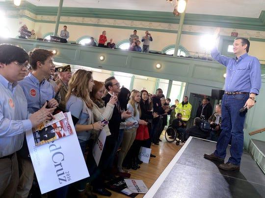 Sen. Ted Cruz speaks at Exeter Town Hall on Jan. 20,