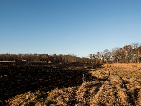 After firefighters finished putting out a brush fire,