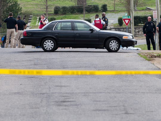 The scene of a shooting near the intersection of Jordan