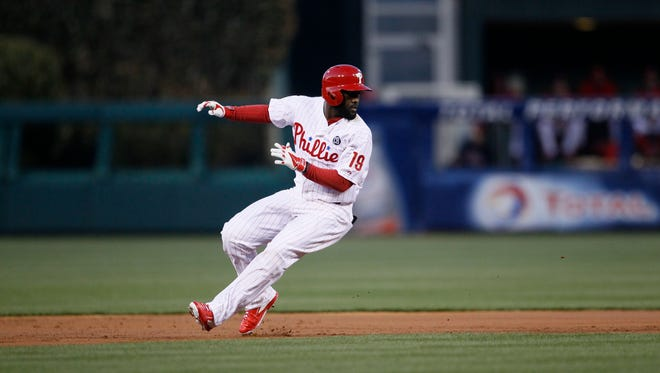 Philadelphia Phillies' Tony Gwynn, Jr. during  a baseball game against the Miami Marlins, Saturday, April 12, 2014, in Philadelphia. (AP Photo/Tom Mihalek)
