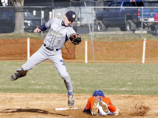 Matt Smith makes a play at second base for Elmira Notre