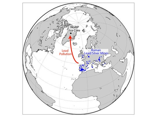 This shows the location of the ice core drilling site
