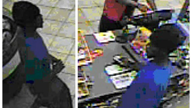 These surveillance stills show the suspect utilizing one of the stolen credit cards at an area convenience store.