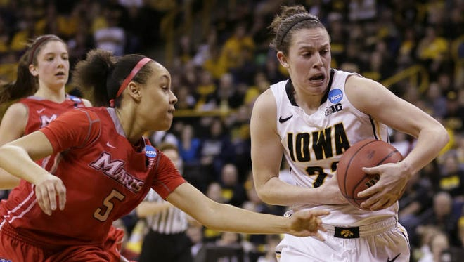 Iowa guard Samantha Logic, right, drives past Marist guard Sydney Coffey during the first half of an NCAA tournament first-round women's college basketball game, Sunday, March 23, 2014, in Iowa City, Iowa