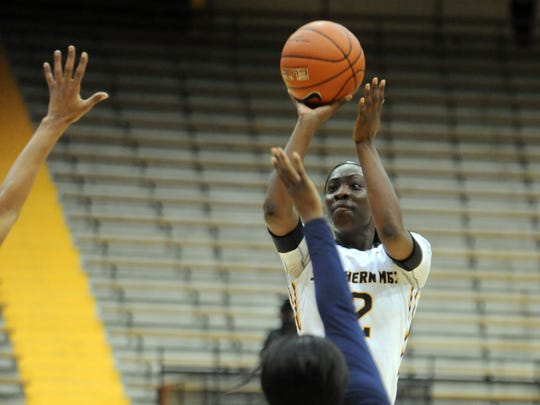 Southern Miss senior Lashyra Cotton takes a shot in Thursday's home win over Old Dominion.