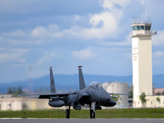 A US Air Force F-15E Strike Eagle all-weather, highly