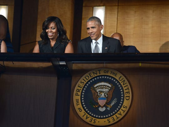 First lady Michelle Obama, left, and President Obama,