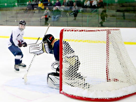 Dallastown vs Penn Manor during ice hockey action at York City Ice Arena in York City, Wednesday, Nov. 8, 2017. Penn Manor would win the game 6-3. Dawn J. Sagert photo