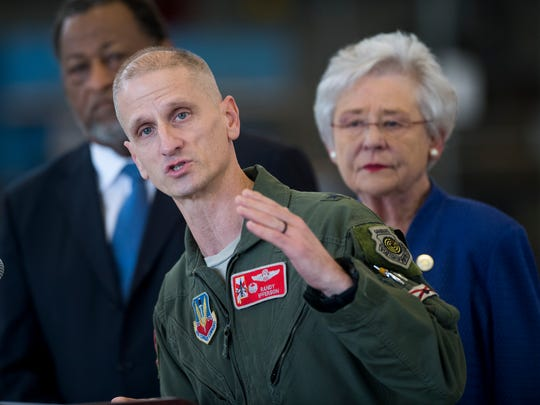 Alabama Air National Guard Chief of Staff Brigadier General Randy Efferson speaks after learning that the 187th Fighter Wing will be getting the F-35 Fighter jets during a ceremony in Montgomery, Ala. on Thursday December 21, 2017.