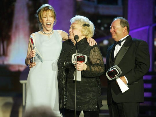 Actors Mary Tyler Moore, Rose Marie and Larry Mathews