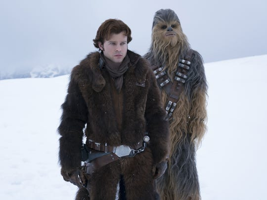 Han Solo (Alden Ehrenreich, left) and Chewbacca (Joonas