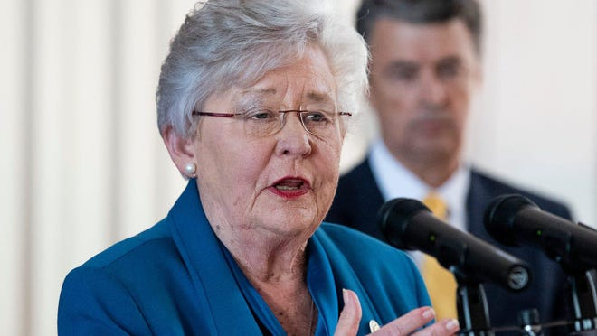Alabama Gov. Kay Ivey, in a file photo from April 3, addressing the state's COVID-19 responses.