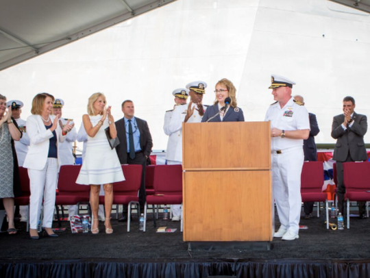 Giffords attends the commissioning ceremony of the