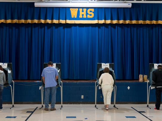 Every voting booth was in use at West Haven Elementary School on Nov. 8, 2016.