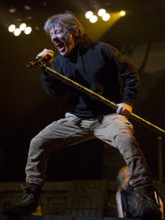 Iron Maiden lead singer Bruce Dickinson performs during