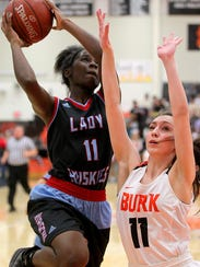 Hirschi's Patience Murphey goes up for two against