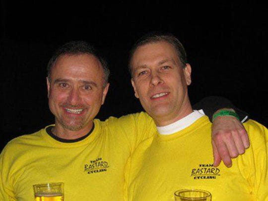 Shawn Gosch, right, and Jeff Gray were not only friends, but bicycling buddies. Gray was seriously injured and Gosch was killed June 20 on Iowa Highway 7. What befell them was the most common form of car-bike crash: a rear-end collision.