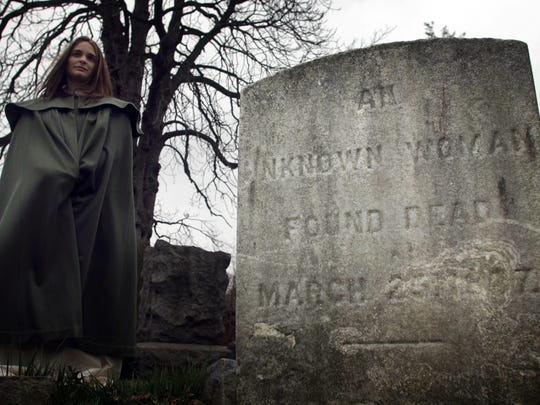 Stefanie Acquisto of Rahway is shown portraying the Unknown Woman during a ghost tour of Merchants and Drovers Tavern Museum, St. Georges and Westfield avenues, and the adjacent 300-year-old Rahway Cemetery. Another ghost tour will take place Oct. 26 and 27