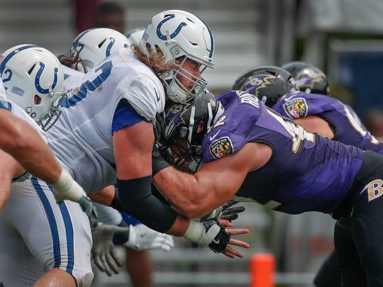 Indianapolis Colts offensive tackle Joe Haeg (73) Baltimore