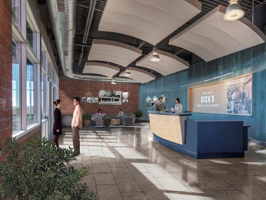 The lobby of the planned Dick's Sporting Goods distribution
