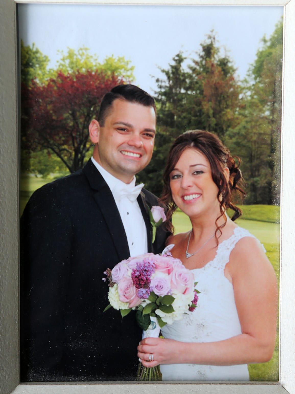 Joseph Wenskoski with his wife, Tracy Wenskoski, on their wedding day, May 15, 2015.