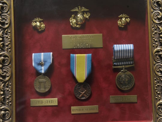 """Medals commemorate Ted Hitchcock's service in Korea. Too young for World War II, he had joined the Marine Reserves with a couple of others """"to prove we were real men."""""""