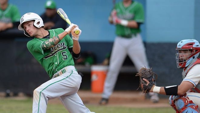 "Senior left fielder Mason Stewart (5), a USC Upstate signee, is Easley's leadoff batter and ""sparkplug,"" according to Green Wave coach Josh Warner."