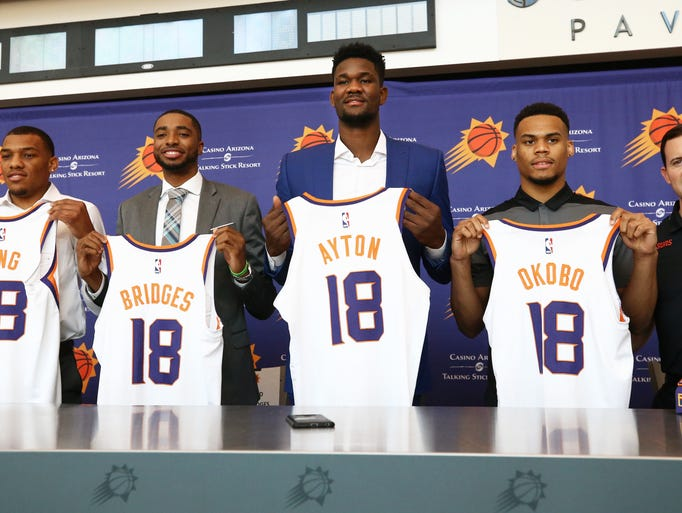 Phoenix Suns GM Ryan McDonough (right) introduces draft