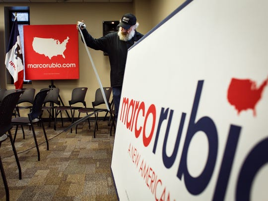 Dennis Franzmeier with Concert Productions breaks down the set after Republican presidential candidate Marco Rubio made a campaign stop at Central College in Pella at 9:10 a.m. Tuesday, Jan. 26, 2016.