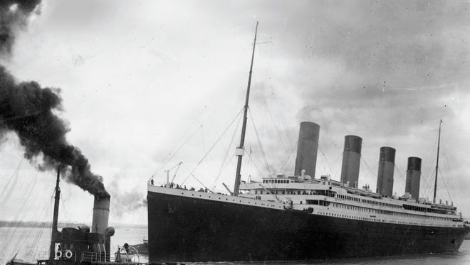 The Titanic leaves Southampton, England, on her ill-fated maiden voyage on April 10, 1912.