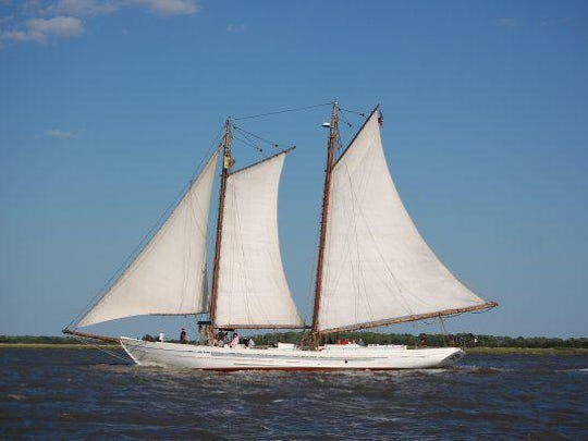 The Restored oyster schooner A.J. Meerwald is owned by the Bayshore Center at Bivalve. It tours the state every summer and has been docking in Barnegat Light for the past few years instead of Beach Haven, due to Little Egg Inlet shoaling up so much.