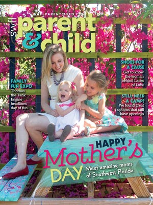 The News-Press writer Janine Zeitlin and her daughters, Adeline and Violette Damon, grace the cover of the May issue of SWFL Parent & Child magazine. The location: Artful Gardens in Buckingham.