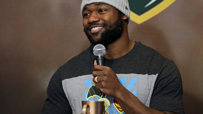 Ty Montgomery of the Green Bay Packers and co-host Brett Christopherson welcome Devante Mays to Clubhouse Live Monday, December 11, 2017, at the Radisson Paper Valley Hotel in Appleton, Wis. Ron Page/USA TODAY Network-Wisconsin