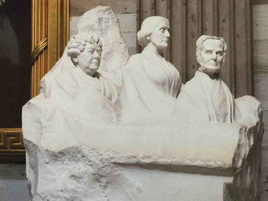 Portrait monument to Lucretia Mott, Elizabeth Cady Stanton and Susan B. Anthony at the U.S. Capitol in Washington, D.C.