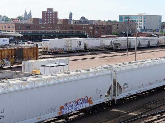 A view of the downtown Sioux Falls rail yard from the 10th Street viaduct.
