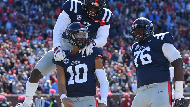 Ole Miss' offense has picked it up a notch the past four games or so, even with backup quarterback Jordan Ta'amu (10) stepping in.