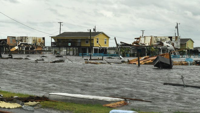 Flooded houses are seen after Hurricane Harvey hit Rockport, Texas, on August 26, 2017.