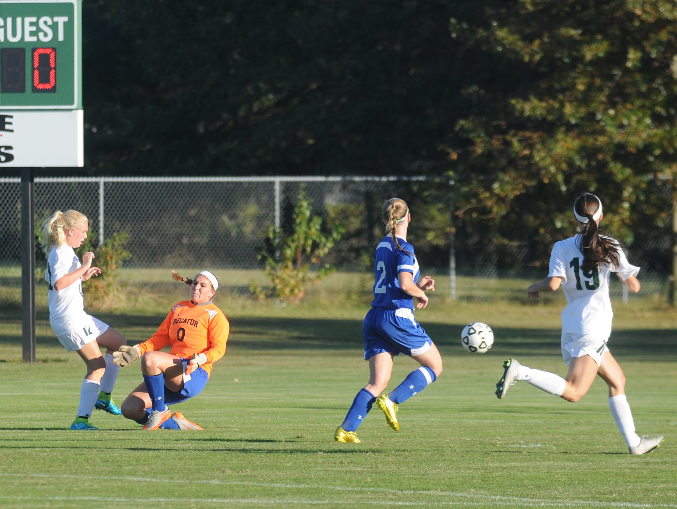 Parkside's Mackenzie Rush slides the ball past Stephen Decatur's goalkeeper Lexi Gauspohl to give Parkside a 2-0 lead on Monday in Salisbury.