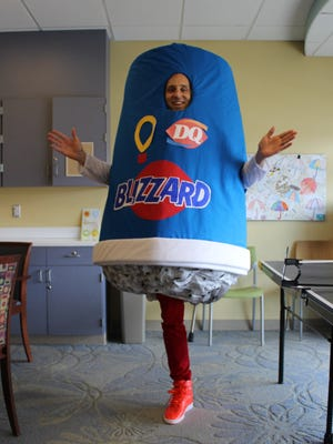 Josh Sundquist dressed up as a Blizzard Wednesday in the latest installment of his one-legged costumes.