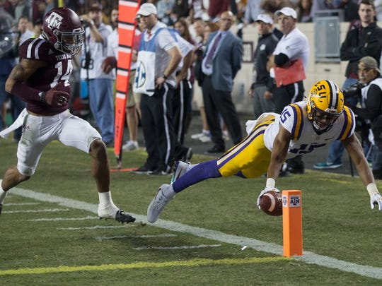 LSU wide receiver Malachi Dupre dives for the pylon during a game against Texas A&M on Nov. 24, 2016 in College Station, Texas.